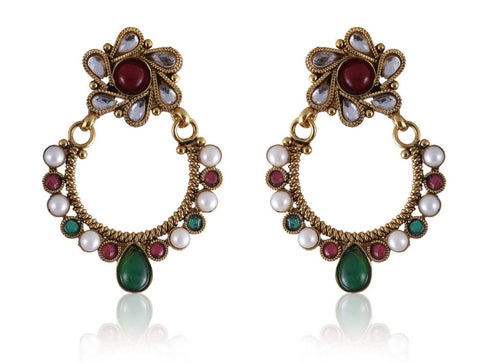 Beautiful Chandbali style Earrings in Golden, Ruby and Green combination PO863