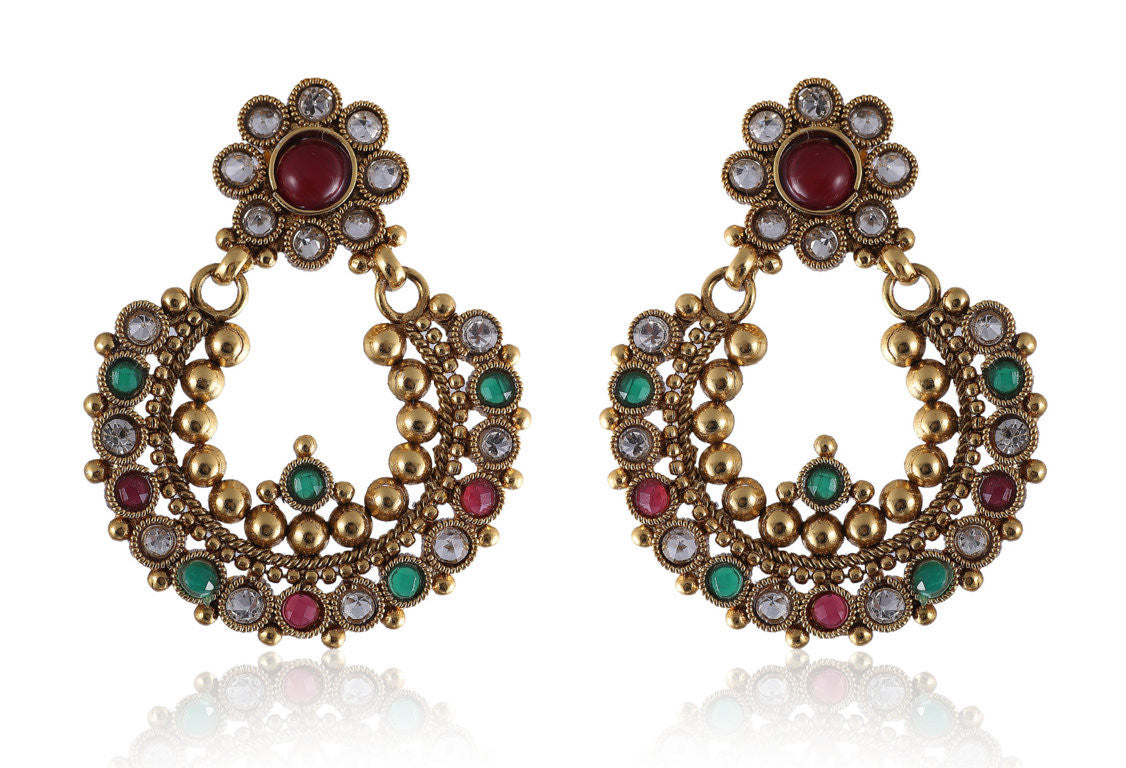 Beautiful Chandbali style Earrings in Golden, Ruby and Green combination PO864