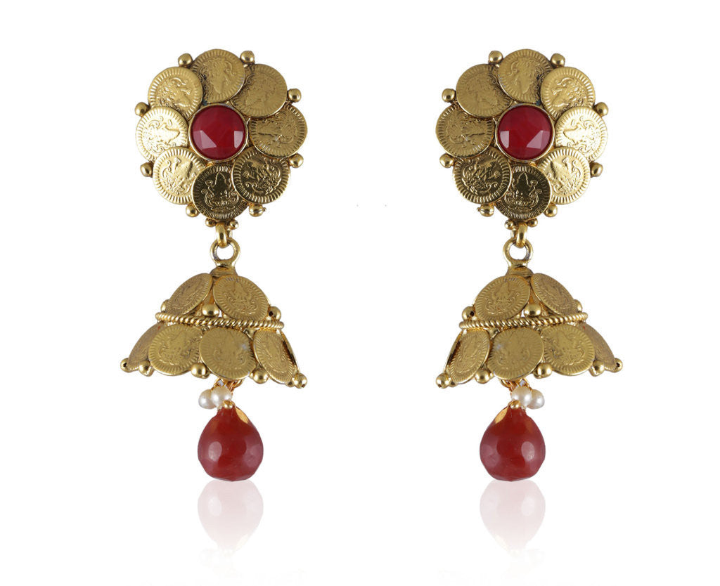 Elegant Coin Jhumkis with an Ruby colored Center and Drop PO874
