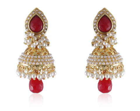 Beautiful & Delicate Jhumkis in Ruby Colored Stone, Pearls and Golden combination PO878