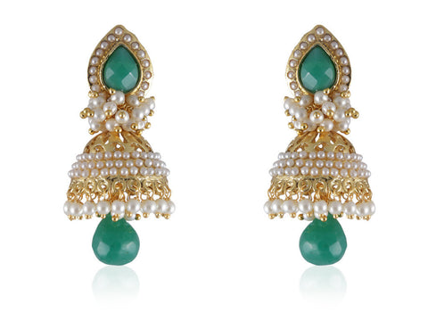 Beautiful & Delicate Jhumkis in Emerald Colored Stone, Pearls and Golden combination PO879
