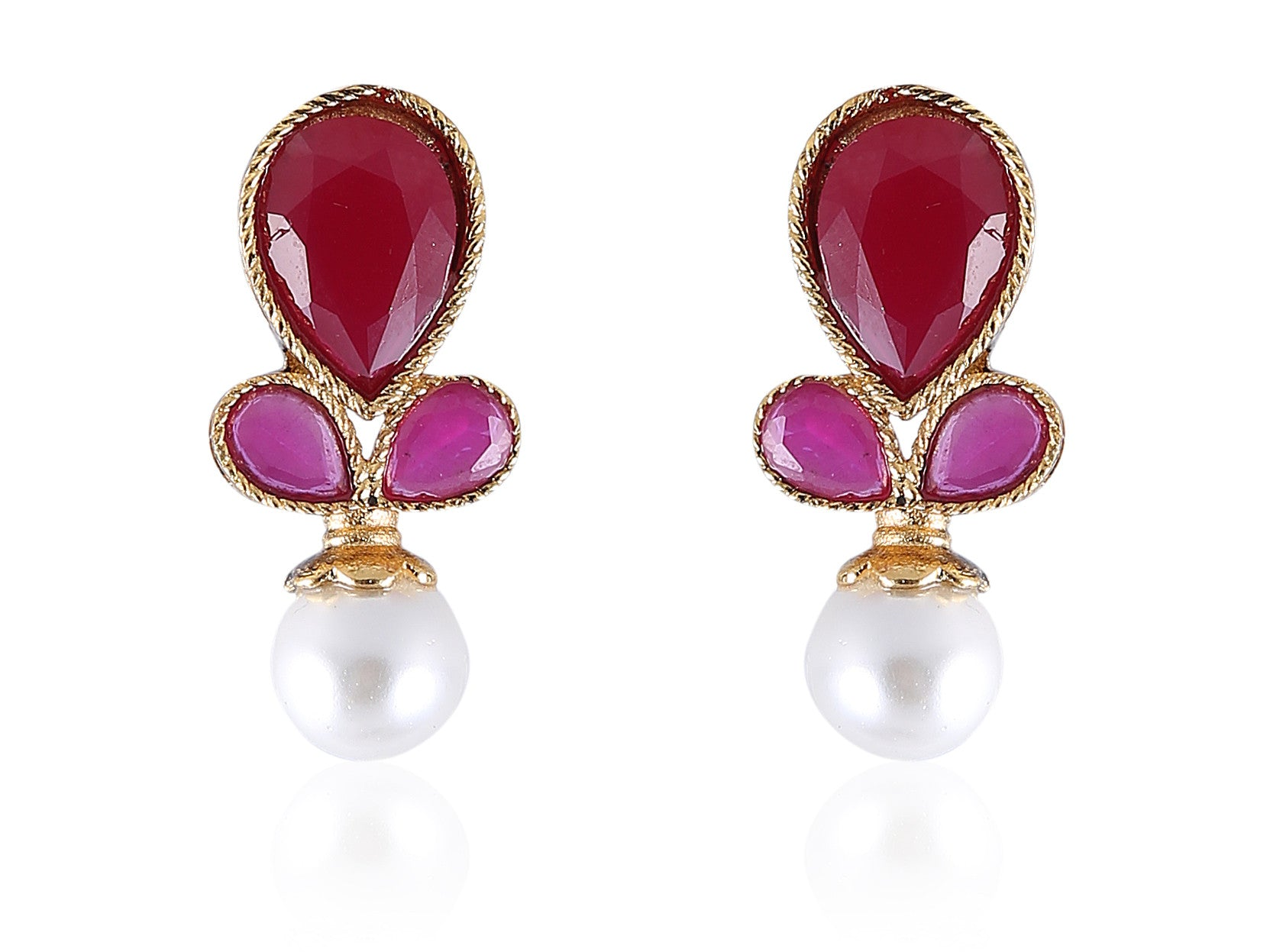 Pretty Studs in Ruby and Pearl Combination PO884