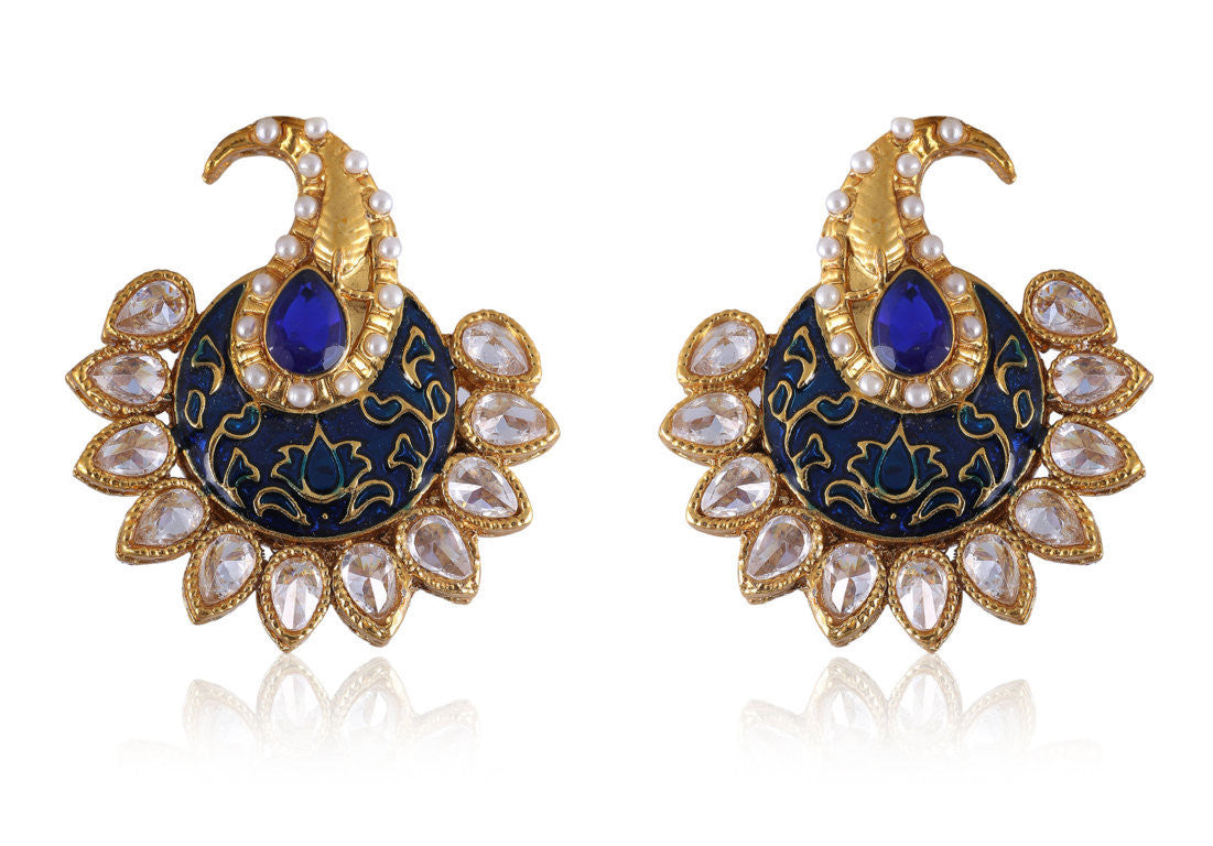 Dazzling Polki Earrings in Blue and Pearls PO889