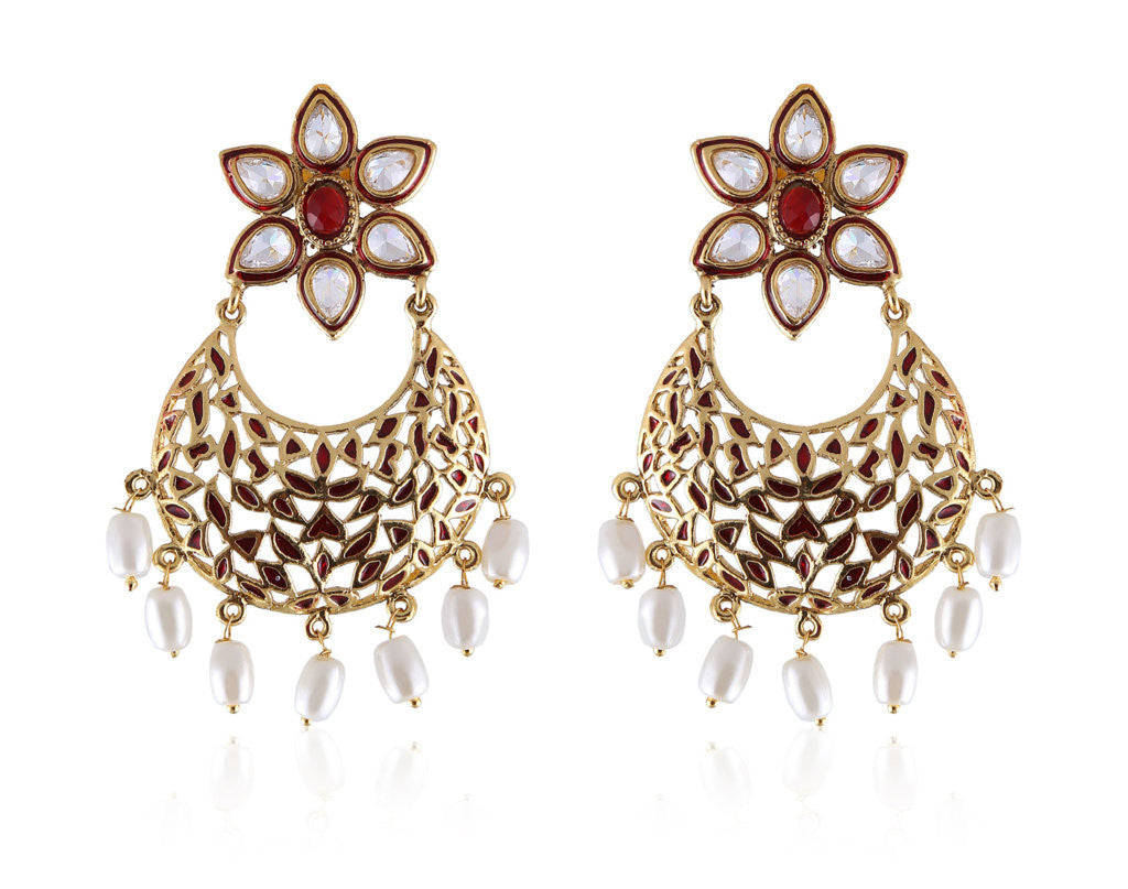 Beautiful Designer Earrings in Golden and Red combination with Pearl drops PO897