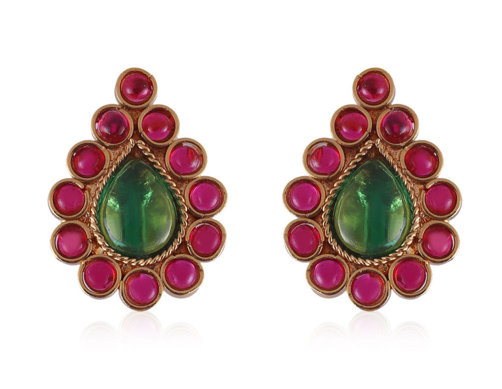 Cute Drop shaped Polki Earrings with Green & Red Kemp Stones PO898