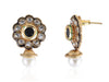 Beautiful Golden studs with a Black Stone and Pearl Drop PO901