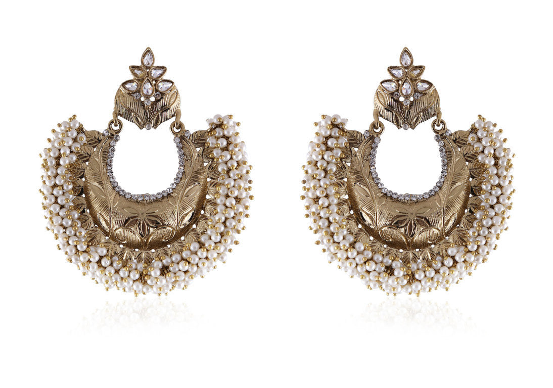 Big and Beautiful Chandbali Style Earrings In Dull Gold and Pearls PO912