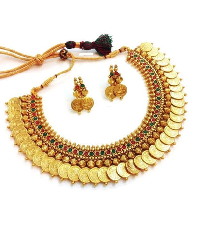 Alluring Coin Lakshmi Polki Necklace Set in Red and Green Colour - POS126