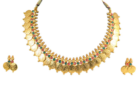 Awesome Coin Polki Necklace Set in Red and Green Colour - POS141