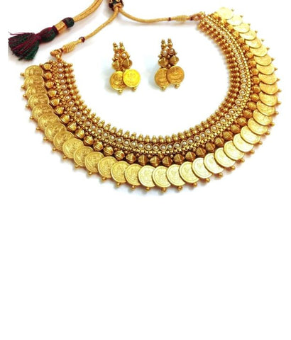Amazing Coin Lakshmi Necklace Set in White Colour - POS143