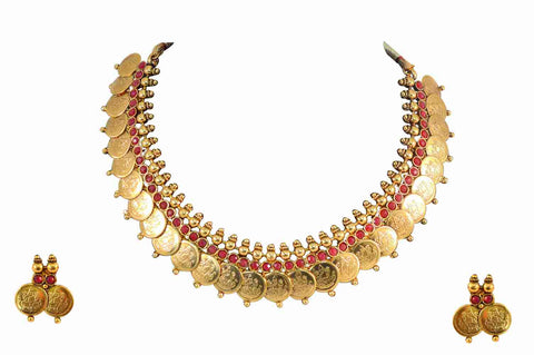 Attractive Coin Polki Necklace Set in Red Colour - POS147