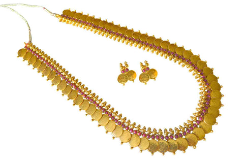 Arresting Coin Polki Necklace Set in Red Colour - POS218