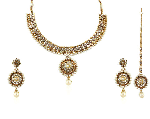 Beautiful Choker style Polki Set with Pearls POS268 by Vastradi Jewels