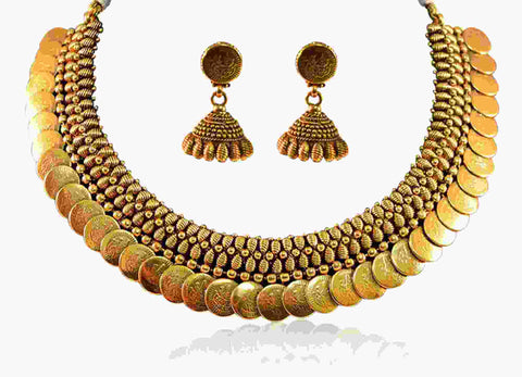 Charismatic Coin Polki Necklace Set in Gold Colour - POS278