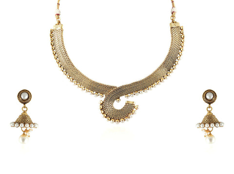 Enchanting Polki Necklace Set in White Colour - POS287