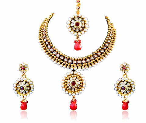 Elegant Choker Style Polki Necklace Set with Red Stones & Golden finishing  - POS315 By VastradiJewels