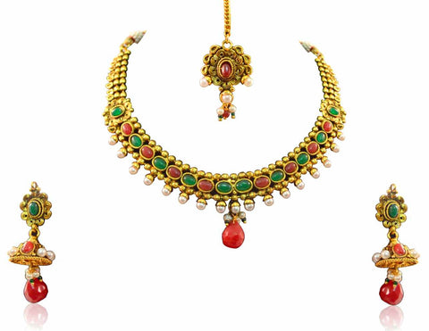 Lovely Polki Necklace Set in Red, Green and White Colour - POS322