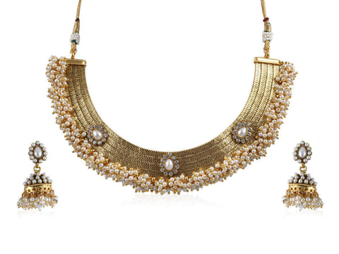 One-of-a-kind Polki Necklace Set in White and Gold Colour - POS349