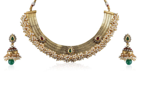 Brilliant Polki Necklace Set in Red, Green and White Colour - POS350
