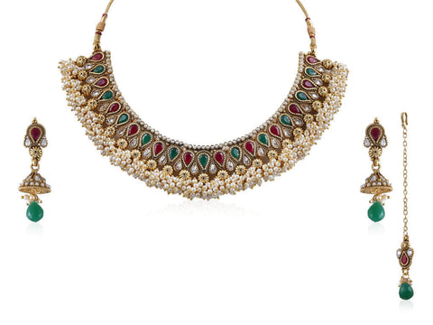 Attention Getting Polki Necklace Set in Red, Green and White Colour - POS351
