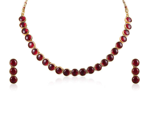 Smart Polki Necklace Set in Red Colour - POS353