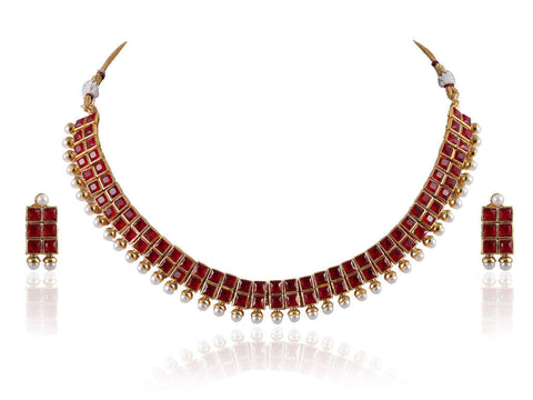 Desirable Polki Necklace Set in Red and White Colour - POS363