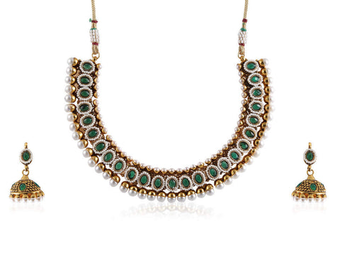 Excellent Polki Necklace Set in Green and White Colour - POS365