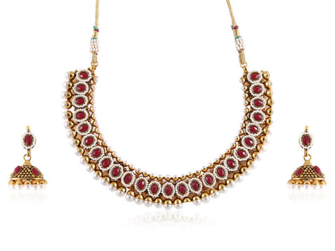 Eccentric Polki Necklace Set in Red and White Colour - POS366