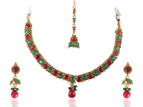 Fanciable Polki Necklace Set in Red and Green Colour - POS367