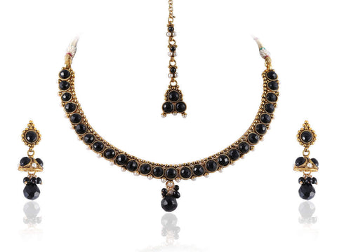Fantastic Polki Necklace Set in Black Colour - POS369