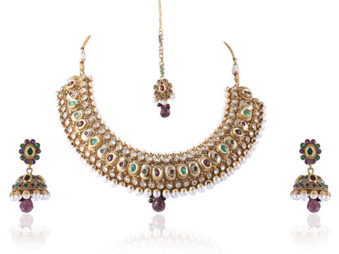 Beauteous Polki Necklace Set in Purple, Green and White Colour - POS375