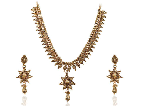 Enchanting Polki Necklace Set in Golden Colour - POS378