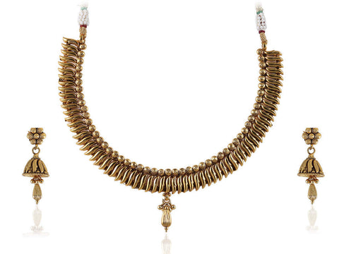 Fabulous Polki Necklace Set in Golden Color - POS380