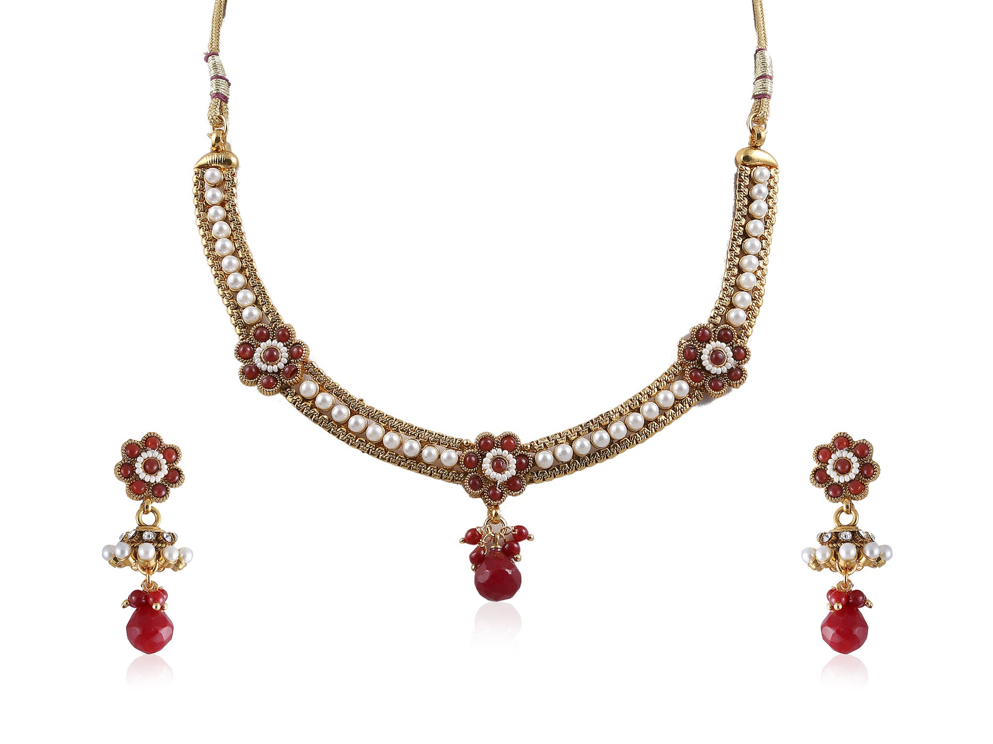 Flowery Polki Necklace Set in Red Stones and Pearls POS388