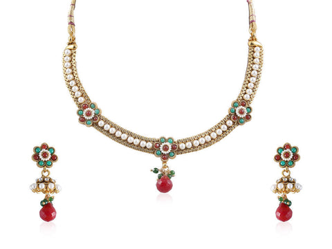 Flowery Polki Necklace Set in Ruby and Emerald colored stones and Pearls POS390