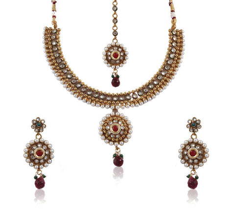 Beautiful Choker style Polki Set with Pearls POS400 by Vastradi Jewels