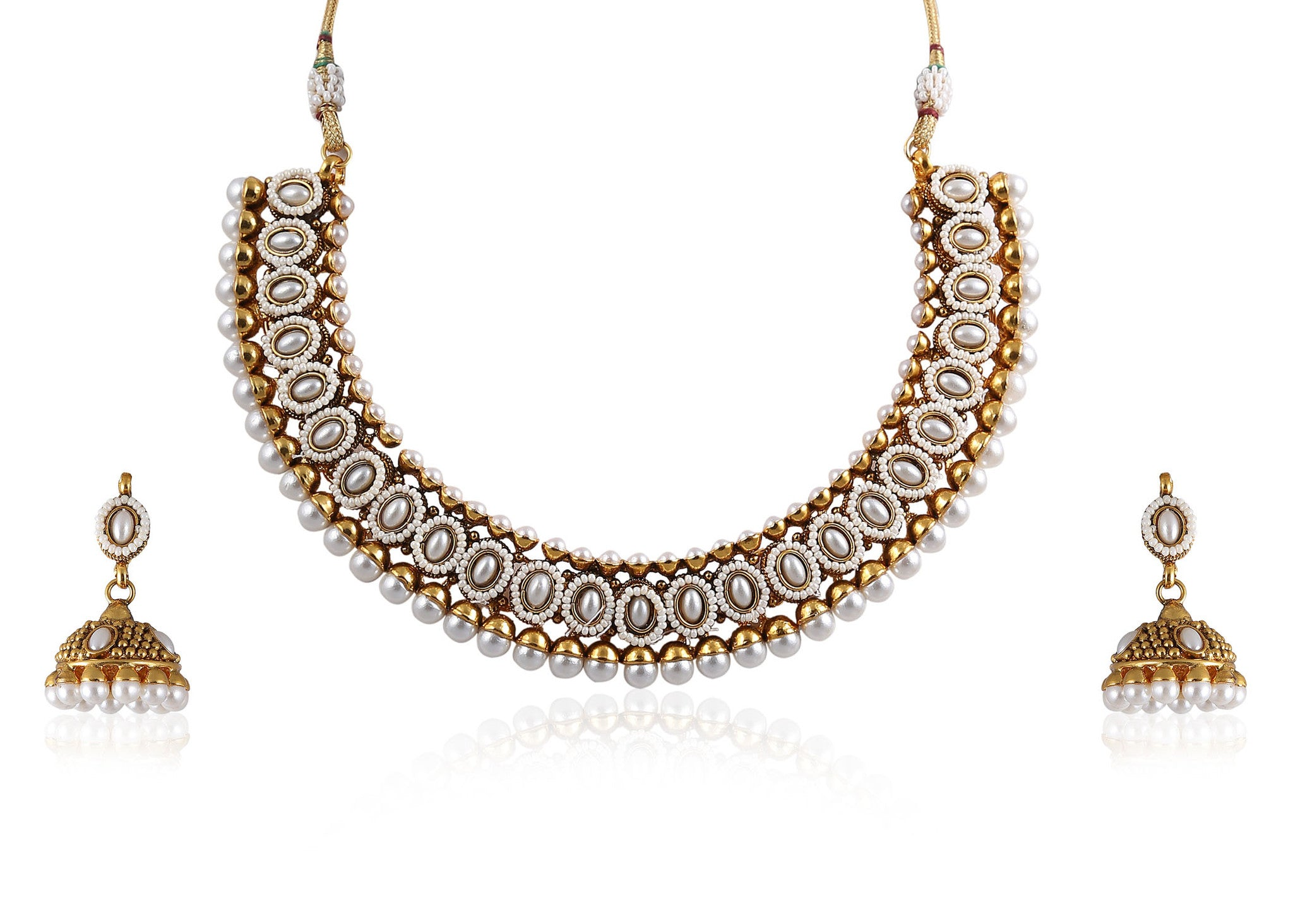 Choker style Polki Necklace Set in Pearls POS413