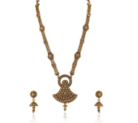 Beautifully Carved Long Polki Necklace Set POS414