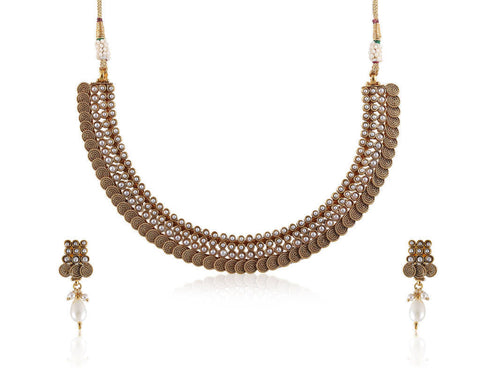 Delicately designed beautiful Polki Necklace set in Golden and Pearls POS415