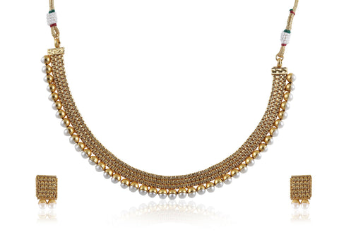 Polki Necklace Set of Pearls on a Golden base POS418