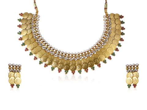 Choker Style Laxmi Coin Polki Necklace Set POS421