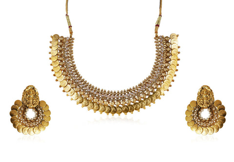 Designer Polki Choker Coin Laxmi Kasu Necklace Set with Chaandbali Earrings POS427