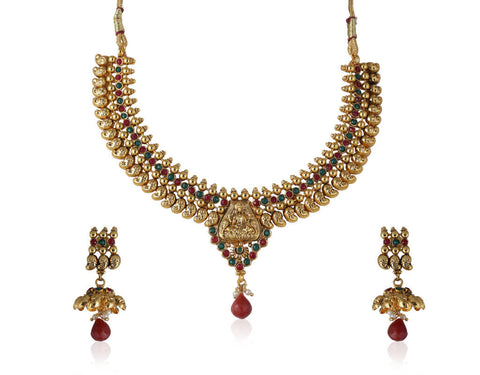 Designer Temple Polki Necklace Set with Jhumki Earrings POS429