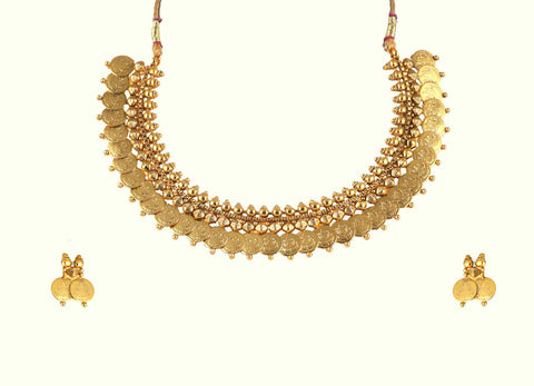 Choker Coin Polki Necklace set with stud earrings POS432