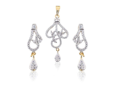 Leaf-Shaped American Diamond Pendant Set in White Colour - PS719