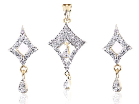 Charming American Diamond Pendant Set in White Colour - PS720