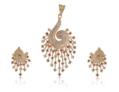 Charming American Diamond Pendant Set in Multi-Colour  - PS739