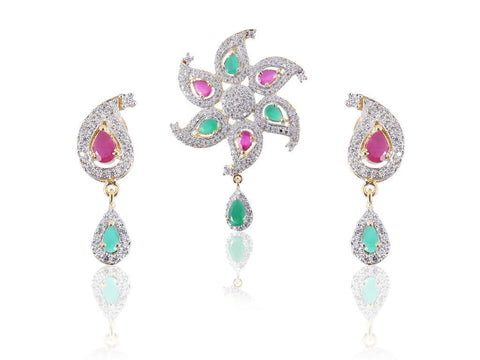 Appealing American Diamond Pendant Set in Red and Green Colour - PS741