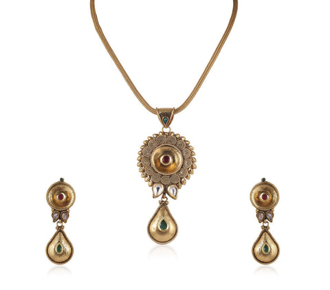 Beauteous Polki Pendant Set in Multicolour  - PS743