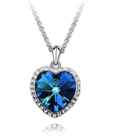 Blue Sapphire Heart Shaped Pendant PS744